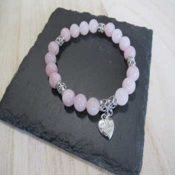 Bracelet quartz rose coeur 8mm