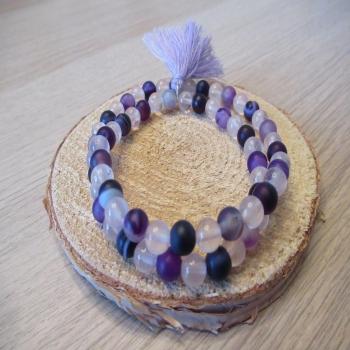 Bracelet double rang en quartz rose et agate violette