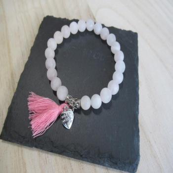 Bracelet quartz rose dépoli coeur 8mm