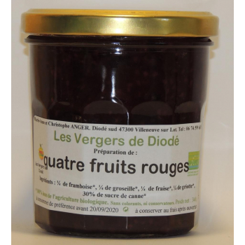 quatre fruits rouges et sucre de canne