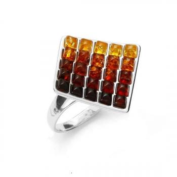 Bague ambre sur argent rhodié 925