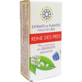 REINE DES PRES Teinture Mère  d'extaits de plantes fraiches granules  Sans Alcool 130 granulesConfort articulaires- Douleurs modérées