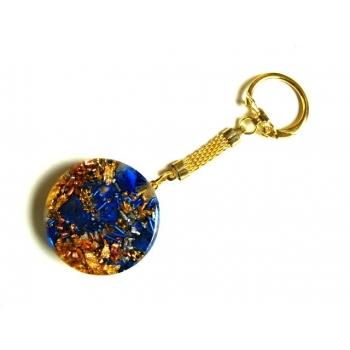 Porte clefs rond lapis lazuli doré
