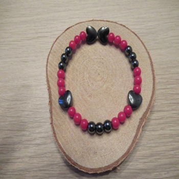 """Bracelet """"saint valentin"""" corail et hématite"""