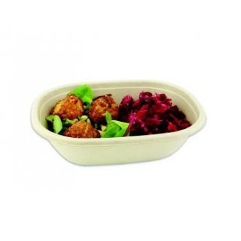 50 saladiers ovales  -19 x 15 x 5 - 620 ml - pulpe naturelle de canne à sucre.