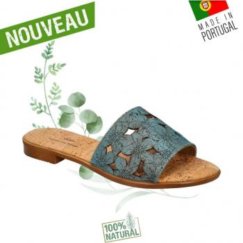 Sandales en liège Blue Flower- Claquettes en liège naturel