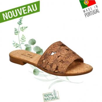 Sandales en liège Flower CAMEL- Claquettes en liège naturel