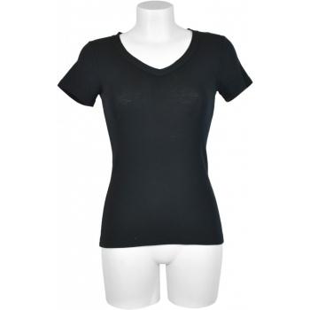 T-shirt femme manches courtes col V en bord côte - noir en pure laine mérinos
