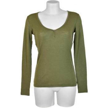 T-shirt femme manches longues col COEUR - KAKI en pure laine mérinos