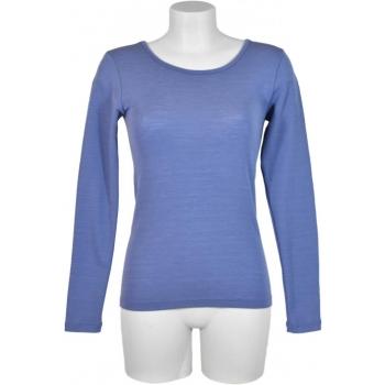 T shirt femme manches longues, col O - Bleu fraîcheur en pure laine mérinos