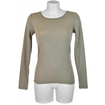 T shirt femme manches longues, col O - Taupe/Ficelle en pure laine mérinos