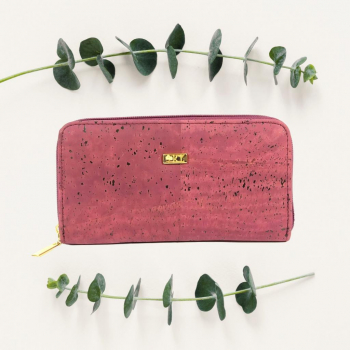 Portefeuille en liège bordeaux, idée cadeau saint-valentin