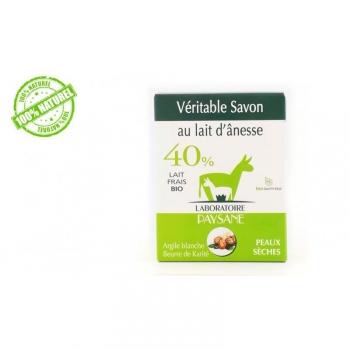 Savon au lait d'ânesse 40% argile blanche et beurre de karité 100G