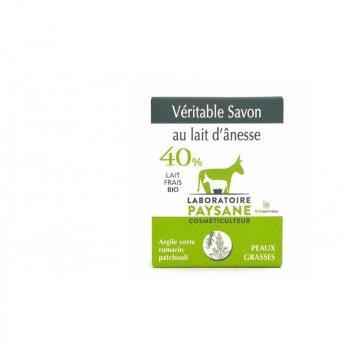 Savon au lait d'ânesse 40% argile verte patchouli romarin 100g Bio