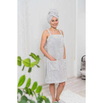 LUIN LIVING - Robe Spa à bretelles, S, PEARL GREY