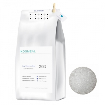 Sel d'Epsom - 2kg - Emballage Écologique En Papier Kraft Blanc
