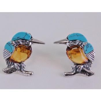 Boucles d'oreilles Martin pécheur en ambre et turquoise sur argent