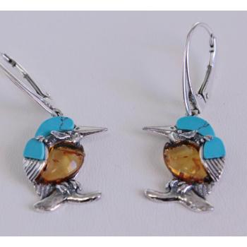 Boucles d'oreilles Martin pécheur en ambre et turquoise sur argent.