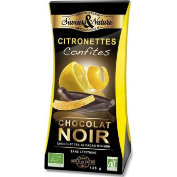 Citronettes' lamelles de citron confit enrobées de chocolat noir, 125 g