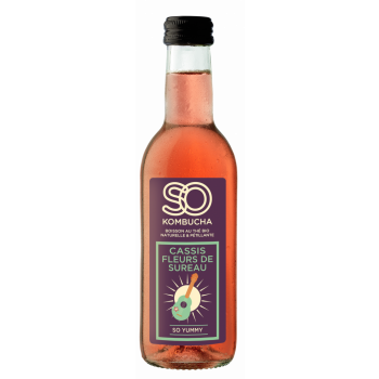 SO KOMBUCHA Cassis Fleurs de Sureau, 12 bt x 250 ml
