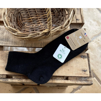 Lot de 2 paires de socquettes 100% coton bio (Noir)