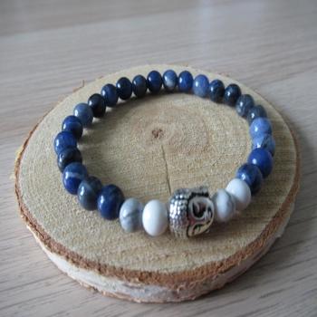 Bracelet en Sodalite et Howlite blanche
