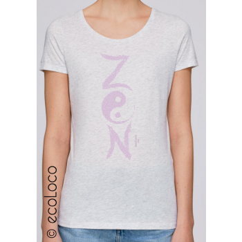 T-shirt bio ZEN imprimé en France artisan mode éthique équitable vegan (col V)