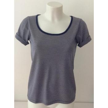 T-shirt femme manches courtes col arrondi, en pure laine mérinos RAYURES MARINE