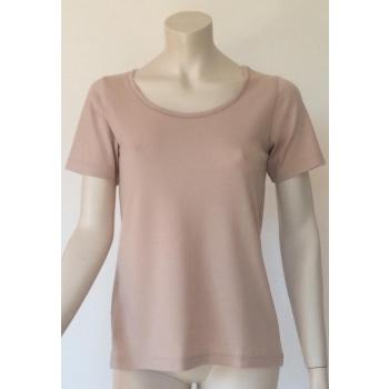 T-shirt femme manches courtes col arrondi BLUSH (beige rosé) pure laine mérinos COOLMAN