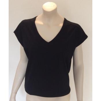 T SHIRT  FEMME manches courtes col V jersey pure laine MERINOS noir