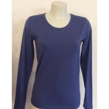 T-shirt femme manches longues col bleu Lavande pure Laine M