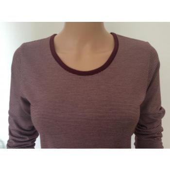 T-shirt femme manches longues col O rayures bordeaux pure laine mérinos