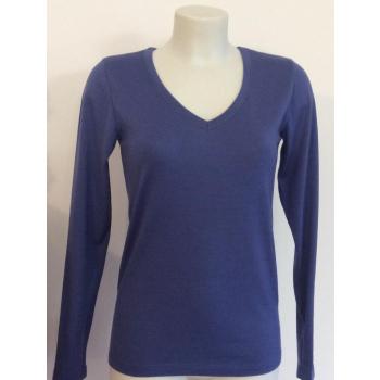T-shirt femme manches longues col V bleu lavande pure laine merinos