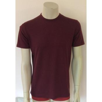 T-shirt homme manches courtes col O - Bordeaux en pure laine mérinos COOLMAN