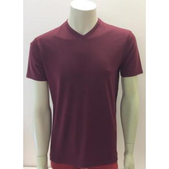 T-shirt homme manches courtes col V BORDEAUX en pure laine mérinos
