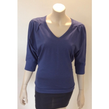 T SHIRT  FEMME manches 3/4 col V jersey pure laine MERINOS bleu