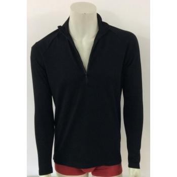 T-shirt ZIPPE unisexe pure laine merinos - noir