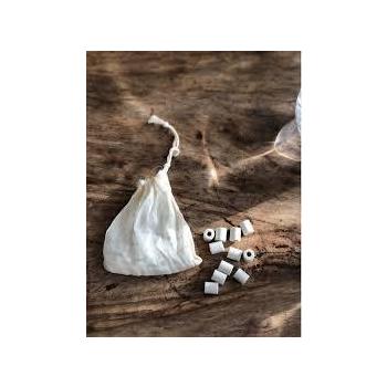 15 perles de céramique -  (pochon ou sachet de thé)