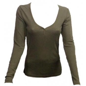 T-shirt femme manches longues en pure laine MERINOS COOLMAN - vert kaki