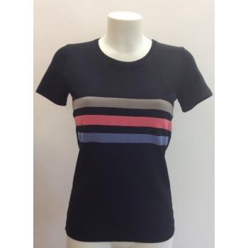 T-shirt femme manches courtes col o - noir a 3 bandes pure laine mérinos COOLMAN