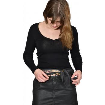T-shirt femme manches longues col coeur COEUR  - noir en pure laine mérinos