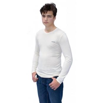 T-Shirt Col V manches longues en pure laine MERINOS COOLMAN - Blanc Cassé