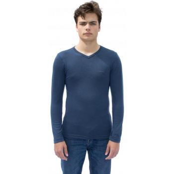 T-shirt manches longues col V en pure laine mérinos COOLMAN bleu jean