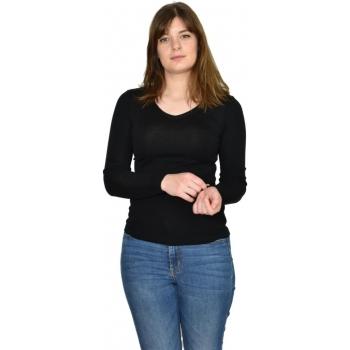 T-shirt femme manches longues col V - noir en pure laine mérinos