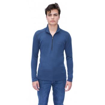 T-shirt avec ZIP en pure laine MERINOS COOLMAN - bleu jean