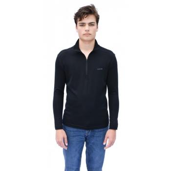 T-shirt avec ZIP en pure laine MERINOS COOLMAN - noir