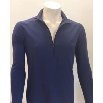 T-shirt zippe bleu indigo - unisexe pure laine mérinos COOLMAN