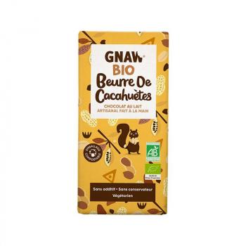 Tablette chocolat au lait beurre de cacahuètes BIO GNAW 1