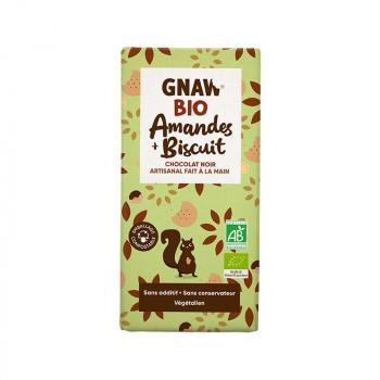Tablette au chocolat noir amandes biscuit BIO GNAW 1