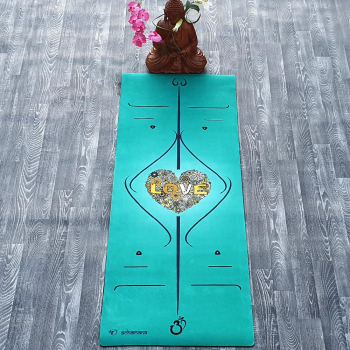 Tapis de yoga lignes positions - Indigo